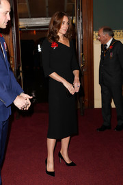 Kate Middleton chose a Roland Mouret LBD with an asymmetrical neckline for the Festival of Remembrance.