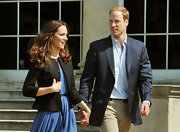 Prince William wore a dark navy blazer with tan cords the day after the Royal Wedding.