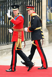 Prince William paired made his way into the church in patent leather oxfords.