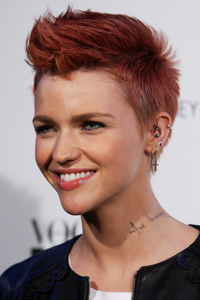 Ruby Rose Fauxhawk [hair,face,hairstyle,chin,eyebrow,beauty,hair coloring,red hair,pixie cut,forehead,ruby rose,hair,hairstyle,red hair,hair,pixie cut,sydney,vogue fashion,night out launches,launch,ruby rose,short hair,hairstyle,hair,pixie cut,pompadour,quiff,red hair,mohawk hairstyle,ducktail]