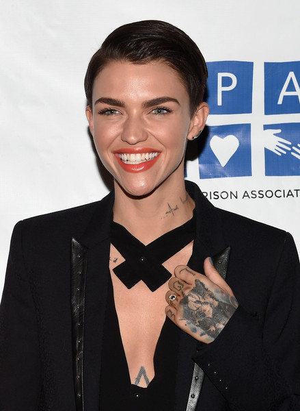 Ruby Rose Short Side Part [orange is the new black,season,suit,fashion accessory,white-collar worker,premiere,bow tie,neck,tuxedo,tie,award,smile,ruby rose,the ainsworth,new york city,womens prison association,screening benefiting the womens prison association,screening]