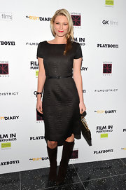 Kiera Chaplin donned a chic sheath dress at 'The Rum Diary' premiere topped off with brown suede knee-high boots.