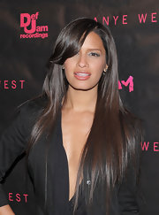 B.E.T. host Rocsi showed off longer than usual brunette locks while attending the premiere of 'Runaway'. She added a little dimension to her look by curling her bangs.