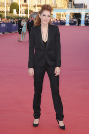 Rachelle Lefevre suited up in black for the Deauville American Film Festival premiere of 'Ruth and Alex.'