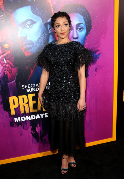 Ruth Negga Evening Sandals [season,fashion,dress,pink,premiere,fashion design,event,flooring,haute couture,performance,cocktail dress,preacher,ruth negga,theater,california,los angeles,ace hotel,amc,premiere]