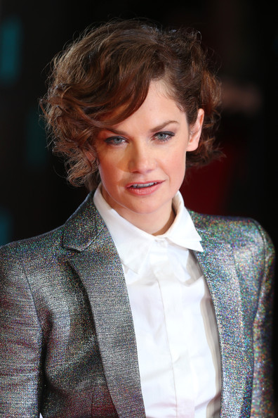 Ruth Wilson Short Curls [hair,hairstyle,chin,blond,brown hair,suit,outerwear,layered hair,long hair,premiere,ruth wilson,british academy film awards,ee,england,london,the royal opera house,red carpet arrivals]