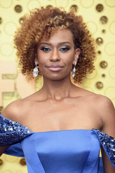 Ryan Michelle Bathe Short Curls [hair,face,hairstyle,shoulder,beauty,lip,lady,ringlet,eyebrow,fashion,arrivals,ryan michelle bathe,emmy awards,microsoft theater,los angeles,california]