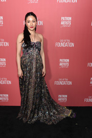 Constance Wu was summer-glam in a printed halter gown by Etro at the 2019 Patron of the Artists Awards.