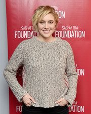 Greta Gerwig was casual and cozy in a ribbed taupe sweater at the SAG-AFTRA Foundation Conversations.