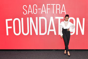 Regina Hall donned a partially sheer ruffle blouse for the SAG-AFTRA Foundation Concersations.