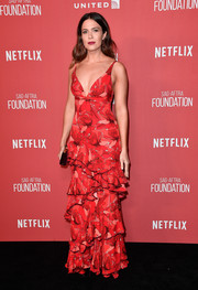 Mandy Moore looked darling in a flamenco-inspired ruffle gown by Johanna Ortiz at the SAG-AFTRA Foundation Patron of the Artists Awards.