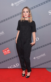 Saoirse Ronan kept it relaxed on the red carpet in a baggy black jumpsuit during the Savannah Film Festival.