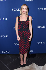 Christina Ricci was spring-chic in a cherry-print tank top by Altuzarra at the 'Z' Q&A during aTVfest 2017.