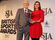 Jessica Ennis wore a stylish red dress featuring a tulip skirt to the 2012 SJA Sports Awards.