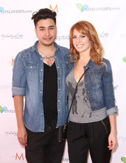Amy Clarke chose a rugged denim jacket and tee combo for the Live Love Spa event.