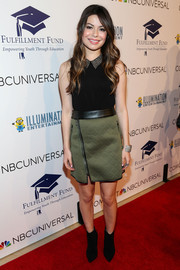 Miranda Cosgrove was edgy-cute in an olive-green mini skirt and a sleeveless black blouse at the Stars 2013 benefit gala.