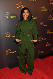 Taraji P. Henson kept it relaxed in a loose green jumpsuit by Alberta Ferretti at the premiere of 'The Best of Enemies.'