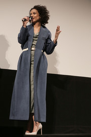 Gugu Mbatha-Raw looked tres chic in a long slate-blue suede coat at the SXSW 'Fast Color' premiere.