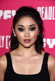 Lana Condor looked punky with her messy wavy 'do at the premiere of 'Deadly Class.'