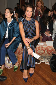 Brooke Shields teamed pointy blue pumps with matchy-matchy separates for the Sachin & Babi fashion show.