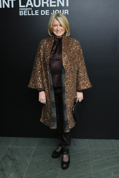 Martha Stewart sparkled in a bronze sequined coat at the 'Belle de Jour' 50th anniversary screening.