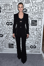 Leighton Meester went androgynous in a pearl-embellished black pantsuit by Prabal Gurung at the Saks Downtown Men's opening.