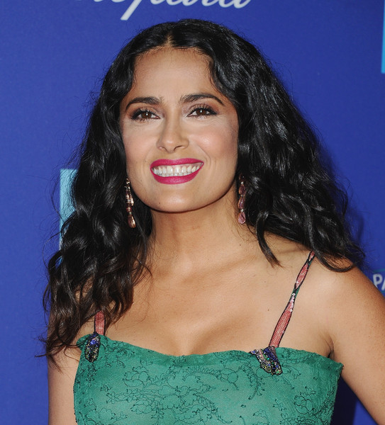 Salma Hayek Berry Lipstick [hair,eyebrow,face,hairstyle,lip,beauty,long hair,chin,shoulder,black hair,arrivals,salma hayek,palm springs convention center,california,palm springs international film festival film awards gala,palm springs international film festival awards gala]