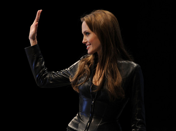 More Pics of Angelina Jolie Leather Jacket (1 of 39) - Angelina Jolie Lookbook - StyleBistro