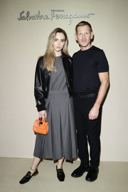 Suki Waterhouse donned a simple gray midi dress by Ferragamo for the brand's Fall 2019 show.