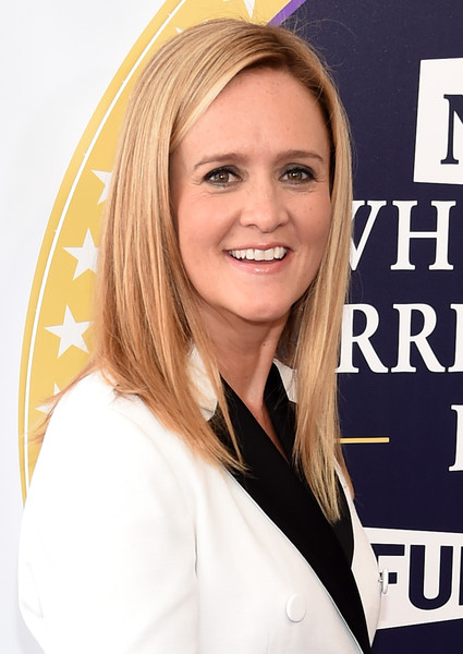 Samantha Bee Long Straight Cut [full frontal,hair,blond,hairstyle,smile,layered hair,samantha bee,not the white house correspondents,red carpet,dar constitution hall,washington dc,not the white house correspondents dinner]