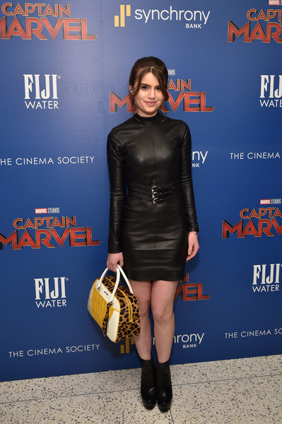 Sami Gayle Leather Dress [fiji water with the cinema society host a special screening of ``captain marvel,captain marvel,fashion,footwear,premiere,dress,electric blue,joint,carpet,little black dress,leather,red carpet,sami gayle,new york city,cinema society,screening]