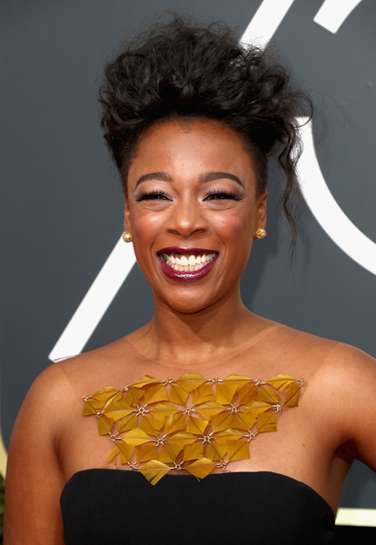 Samira Wiley Mohawk [hair,eyebrow,beauty,yellow,human hair color,hairstyle,chin,fashion model,black hair,smile,arrivals,samira wiley,beverly hills,california,the beverly hilton hotel,golden globe awards,annual golden globe awards]