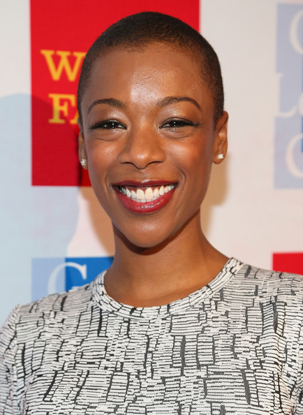 Samira Wiley Buzzcut [red carpet,hair,face,facial expression,eyebrow,hairstyle,head,lip,smile,forehead,chin,samira wiley,california,los angeles,westin bonaventure hotel,l.a. gay lesbian center,42nd anniversary vanguard awards gala]