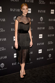 Jessica Stam looked tres elegant in a '20s-inspired sheer-panel LBD by Monique Lhuillier at the Harper's Bazaar Icons event.