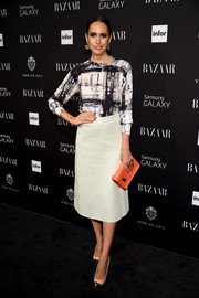 Louise Roe chose an abstract-print blouse for the Harper's Bazaar Icons event.