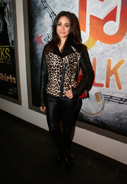 Emmy Rossum toughened up in an edgy-chic leopard-print leather jacket by A.L.C. during the 'Before I Disappear' cast dinner.