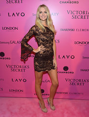 Lindsay wore this winged single-sleeve dress to the Victoria's Secret Fashion Show after-party.