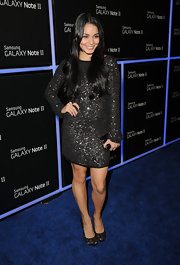 Vanessa looked stunning (yet surprisingly demure) at the Samsung launch party wearing this long-sleeve sequined mini.