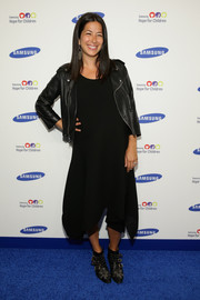 Rebecca Minkoff was edgy-casual in a black leather jacket layered over a flowy LBD at the Hope for Children Gala.