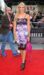 Stephanie Pratt completed her red carpet look with strappy purple platform sandals.
