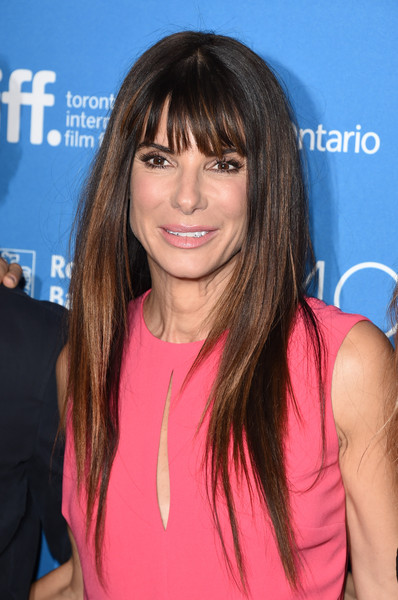 Sandra Bullock Long Straight Cut with Bangs [our brand is crisis,hair,hairstyle,human hair color,bangs,beauty,chin,long hair,layered hair,blond,hair coloring,sandra bullock,tiff bell lightbox,toronto,canada,toronto international film festival]