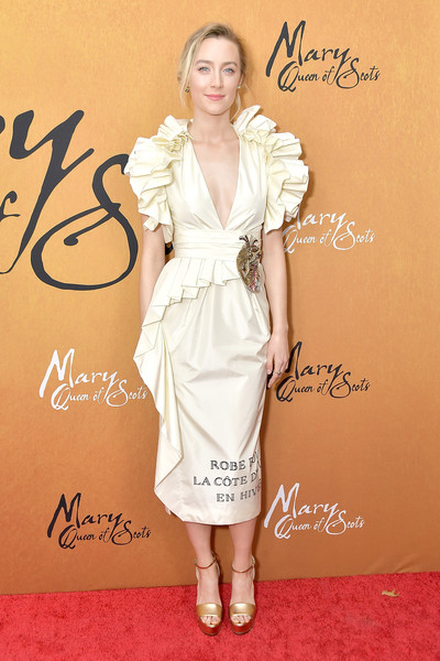 Saoirse Ronan Cocktail Dress [white,fashion model,human hair color,flooring,lady,carpet,catwalk,shoulder,fashion,joint,mary queen of scots,saoirse ronan,red carpet,fashion model,carpet,fashion,new york,paris theater,premiere,premiere,saoirse ronan,mary queen of scots,new york city,actor,film,90th academy awards,red carpet,premiere,2018]