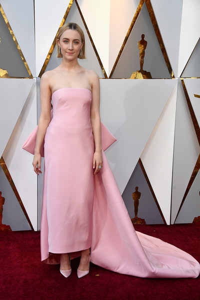 Saoirse Ronan Evening Pumps [gown,pink,flooring,carpet,beauty,dress,fashion model,lady,fashion,shoulder,arrivals,saoirse ronan,actor,academy awards,lady bird,carpet,90th academy awards,gown,hollywood highland center,90th annual academy awards,saoirse ronan,90th academy awards,academy awards,lady bird,actor,red carpet,calvin klein,red carpet fashion,academy award for best actress]