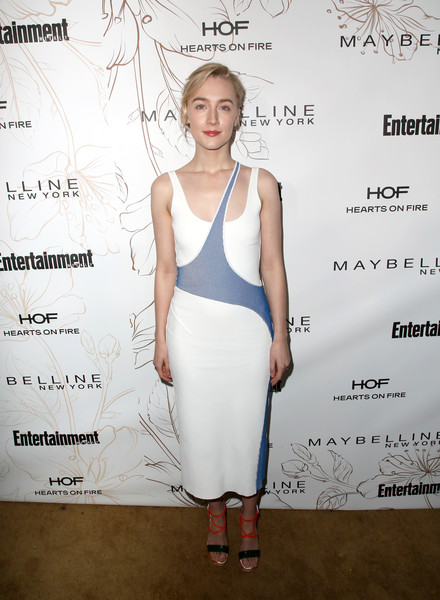 Saoirse Ronan Strappy Sandals [clothing,cocktail dress,dress,shoulder,fashion,fashion design,fashion model,waist,neck,pattern,nominees,saoirse ronan,screen actors guild awards,california,los angeles,chateau marmont,new york,entertainment weekly hosts celebration,maybelline,nominees celebration]