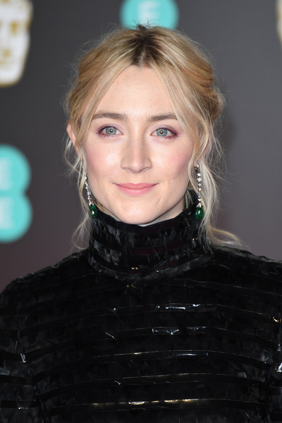 Saoirse Ronan Messy Updo [hair,hairstyle,blond,eyebrow,lip,chin,fashion,long hair,hair coloring,layered hair,red carpet arrivals,saoirse ronan,ee,england,london,royal albert hall,british academy film awards]