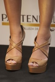 Nude platform sandals are key for summer!