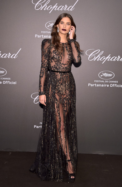 Sara Sampaio Sheer Dress [clothing,fashion model,dress,formal wear,fashion,gown,beauty,fashion design,haute couture,neck,caroline scheufele,sara sampaio,rihanna,chopard space party - photocall,cannes,france,port canto,chopard space party,chopard,cannes film festival]