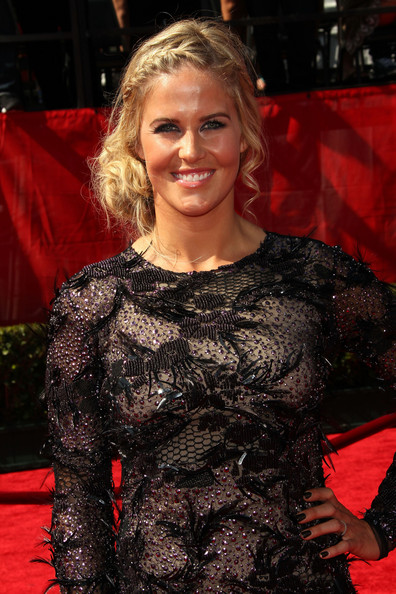 Sarah Burke Messy Updo [carpet,premiere,red carpet,flooring,long hair,smile,see-through clothing,arrivals,sarah burke,2011 espy awards,nokia theatre l.a. live,los angeles,california]