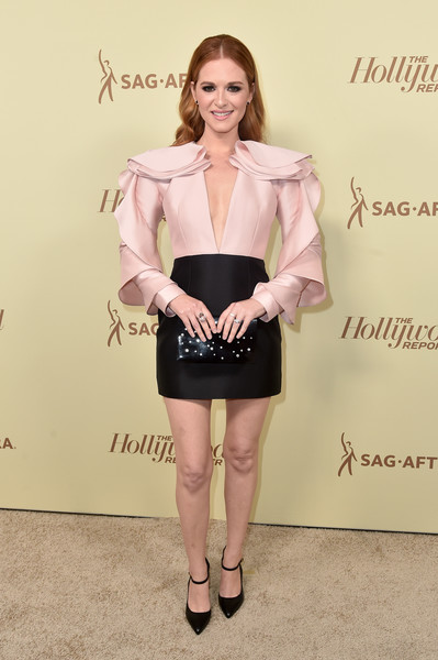 Sarah Drew Beaded Clutch [the hollywood reporter,clothing,pink,lady,fashion,dress,leg,cocktail dress,fashion model,footwear,outerwear,nominees,reporter,contenders,arrivals,contenders,sarah drew,celebrate emmy award,hollywood,sag-aftra]