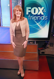Sarah Ferguson looked great in tan dress paired with a nude crop blazer at a 'FOX and Friends' episode.